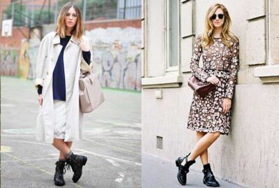Chunky Boots with Feminine Dresses